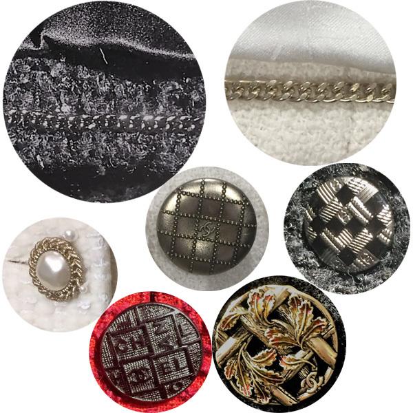 小香外套Tweed Jacket细节,下摆铜链和各种手工纽扣
