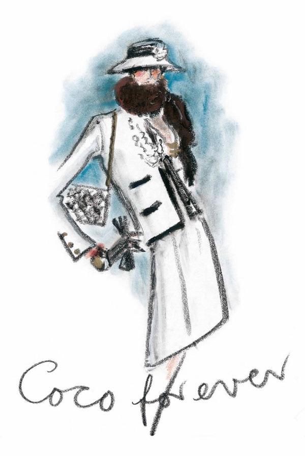 卡尔拉格斐手绘的Chanel本人 图片来自品牌